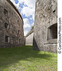 Winding court - Walls and court at a big fortress in hungary...