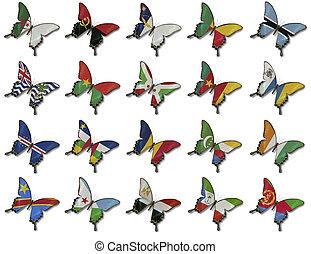 collage, mariposas, banderas, africano