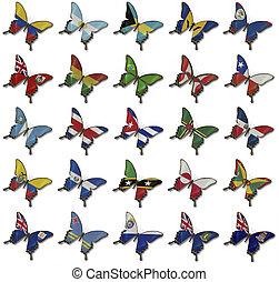 collage, mariposas, banderas, norteamericano