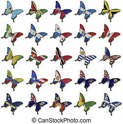 Collage from American flags on butterflies - Collage fron...