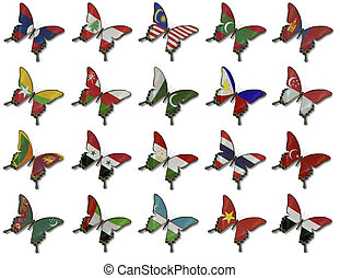 Collage from Asian flags on butterflies