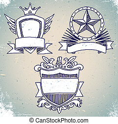 Set of sketch vintage shield labels - Set of hand drawn...