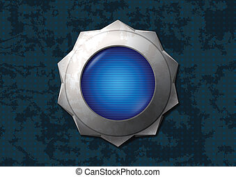 Shiny blue star button - Shiny and rusty blue metal star...