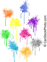 Vector color paint splat - Vector paint splat - set...