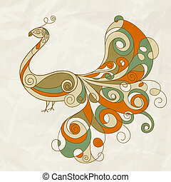 vector stylized peacock on crumpled paper texture - vector...