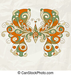 vector stylized butterfly on crumpled paper texture