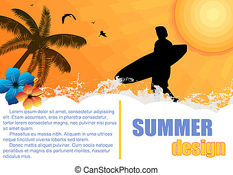 Summer holiday background design with surfer and hibiscus...