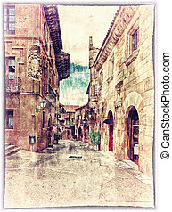 Poble Espanyol - vintage style postcard of traditional...