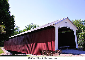 Hillsdale Covered Bridge, Indiana.  Built in 1876.