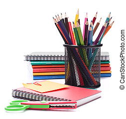 Notebook stack and pencils Schoolchild and student studies...