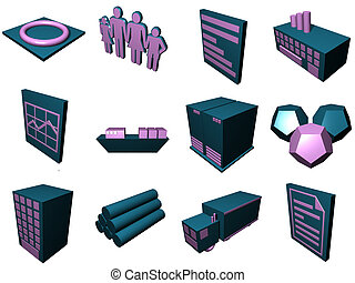 Logistics Process Icons For Supply Chain Diagram in Blue Purple