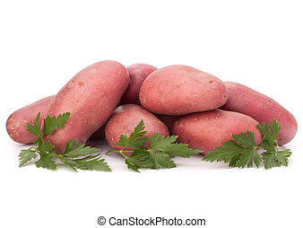 New potato tuber heap and parsley leaves isolated on white...