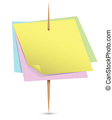 Colorful paper notes on a toothpick