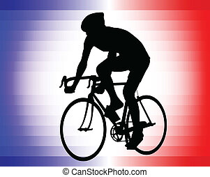 bicyclist - bicyclist silhouette on the tricolor background...