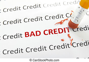 bad credit - macro pencil erasing bad credit