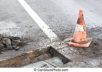 Pothole repair works - Maintenance of road and highway...