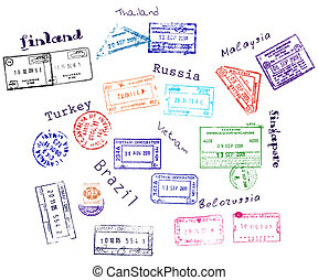 Real visa stamps from 9 countries. Vector illustration EPS8