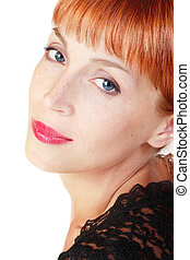 Redhead - Portrait of beautiful red-haired woman with bright...