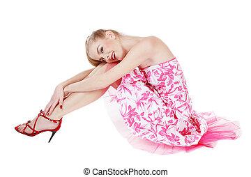 Beautiful pink dress - Beautiful blond girl in stylish pink...