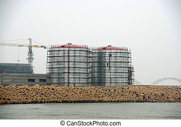 sinopec tanks in caofeidian wharf, China