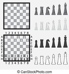 Chessboard with chess pieces. - Chessboard with set of black...