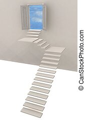 3d illustration of stairway and door to heaven