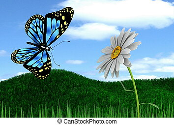 The butterfly and flower