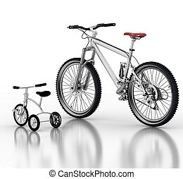 Childrens bicycle against a sports bike