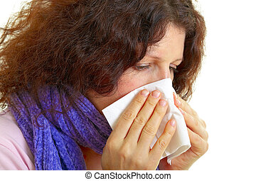 Young woman with flu virus - Young woman with brown hair has...