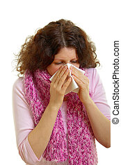 Young woman with flu virus - Young woman with brown hair...