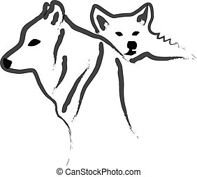 Dogs or Wolfs silhouettes vector
