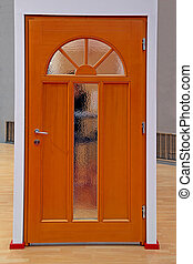 Brown door - Retro brown wooden home interior door with...