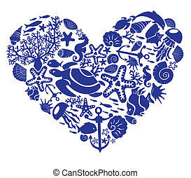 Heart is made of fishes, corals, shells, starfishes,...