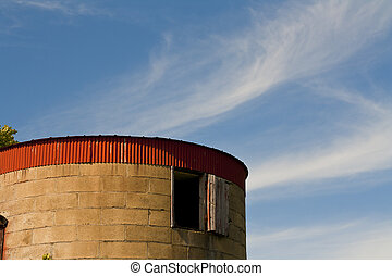 Grain elevator made from rock