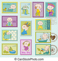Baby Boy Postage Stamps - for design and scrapbook - in...