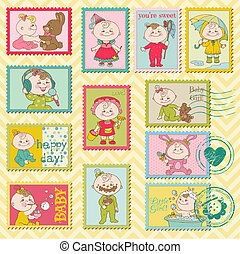 Baby Girl Postage Stamps - for scrapbook, invitation,...