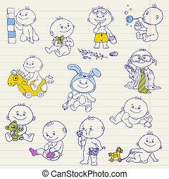 Baby Boy Doodle Set - for design, scrapbook, shower or arrival cards - in vector
