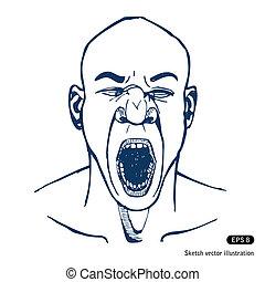Shouting or yawning man. Open mouth