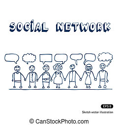 Social network. Hand drawn vector isolated on white