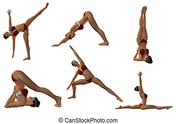 Sexy Joga Poses - 3D Render of Sexy Joga Poses