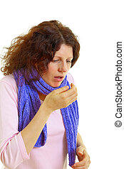 Coughing woman - Young woman with brown hair has a flu,...