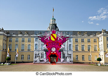 The castle of Karlsruhe in Germany - Decorated entry to the...