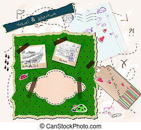 scrapbooking set. - scrapbooking set with map, stamps and...