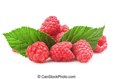 Fresh raspberry with green leaf on white background