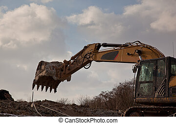 Excavator arm with shovel