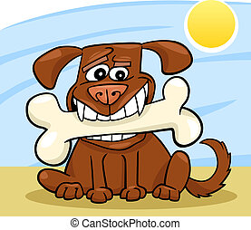 Cartoon Dog with big bone - Cartoon Illustration of Funny...