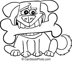 Cartoon Dog with big bone for coloring - Cartoon...