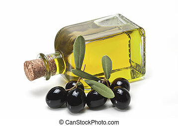 Black olives and a bottle of olive oil.