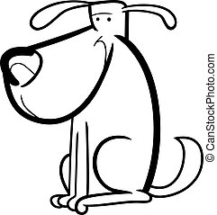 cartoon doodle of cute dog for coloring