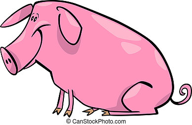 cartoon illustration of farm pig - cartoon illustration of...